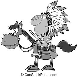 Indian Chief In Gray Color - Indian Chief With Gun On Horse...