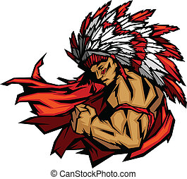 Graphic Native American Indian Chief Mascot with Headdress Flexing Arm