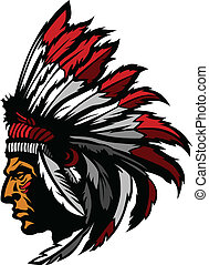 Indian Chief Mascot Head Graphic - Graphic Native American...