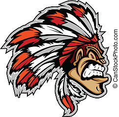Cartoon Indian Chief Native American Mascot with Feathers and Face Paint