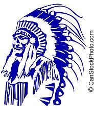 Indian Chief Mascot Head