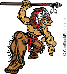 Cartoon Graphic of a native American Indian Chief Mascot holding a spear