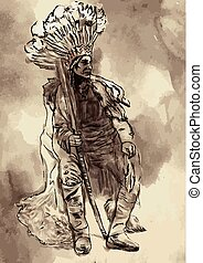 Indian Chief, Portrait of an North Native American. An hand painted vector. Illustration.