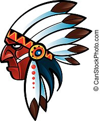 Indian chief - The portrait of red skin native indian chief