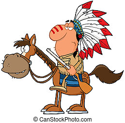 Indian Chief With Gun On Horse