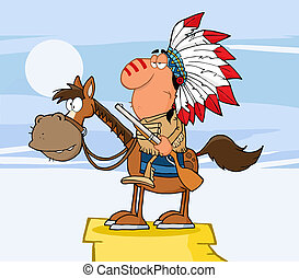 Indian Chief With Gun On Horse Over Rocks