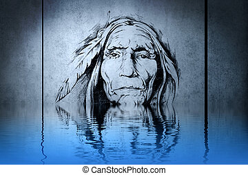 Indian chief's head on blue wall reflections in the water
