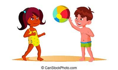 Indian Child Girl And European Boy In Beach Suits Playing Ball On The Beach Vector. Isolated Illustration