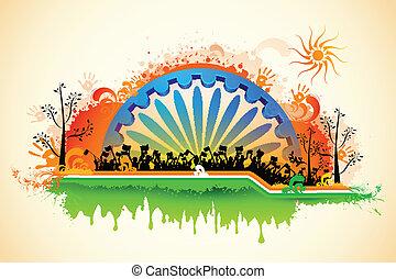Indian citizen waving flag on tricolor flag - illustration...