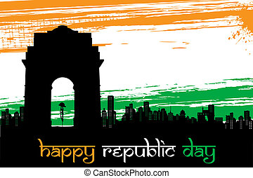 Indian City scape on Tricolor grungy Background