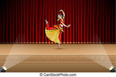 illustration of Indian classical dancer performing bharatnatyam on stage