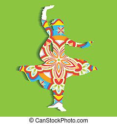 illustration of Indian classical dancer performing kathak