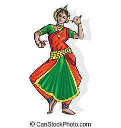 Indian Classical Dancer - illustration of Indian classical...