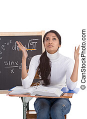 Indian college student woman studying math exam