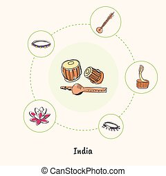 Indian Colored Hand Drawn Doodle Icons Set