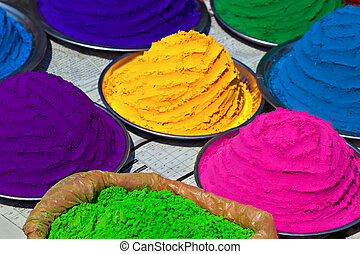 Indian colorful powder, market, India