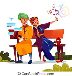 Young couple dating vector illustration of Indian teen boy and girl in sari sitting on bench together and occupied with smartphone selfie photo for social network or texting chat messages.
