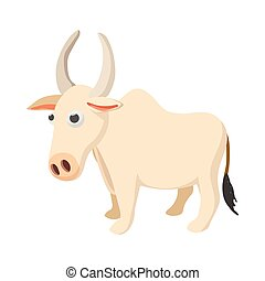 Indian cow icon, cartoon style