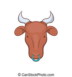 Indian cow icon in cartoon style