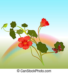 Indian cross flowers with butterfly vector illustration.
