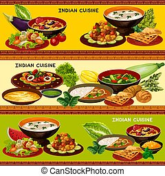 Indian cuisine banner with traditional asian food