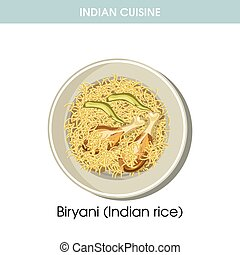 Indian cuisine Biryani rice traditional dish food vector icon for restaurant menu