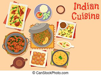 Indian cuisine dinner with pumpkin cake icon