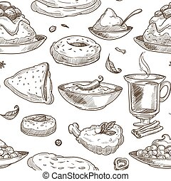 Indian cuisine sketch pattern background. Vector seamless design