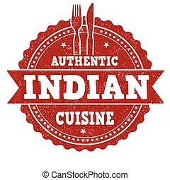 Indian cuisine stamp - Indian cuisine grunge rubber stamp on...