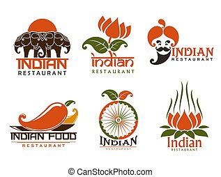 Indian cuisine vector icons and symbols
