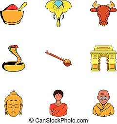 Indian culture icons set, cartoon style