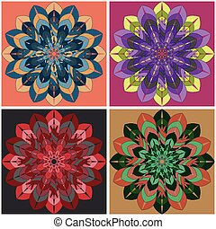 Indian culture mandala flower with a set ornament of four multi-colored bright shapes on different backgrounds