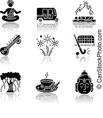 Indian customs drop shadow black glyph icons set
