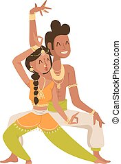 Indian dancer silhouette and Indian cartoon dancer. Indian couple dancing show, dancer party Asian movie dress costume. Ethnic Indian costume. Indian dancer Bollywood traditional party culture.