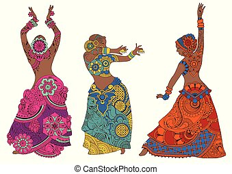Indian dancers on white background