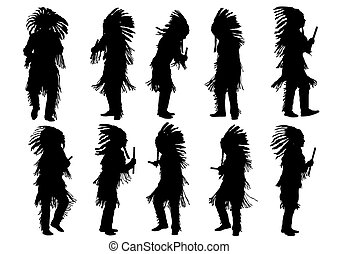 Indian dancers - Silhouettes of Indian musical instruments...
