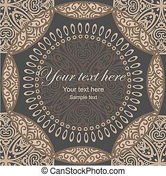 indian dark mandala card - vector mandala card