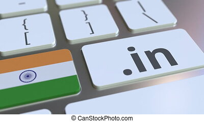 Indian domain .in and flag of India on the buttons on the computer keyboard. National internet related 3D animation