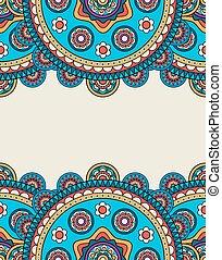 Indian doodle floral borders frame