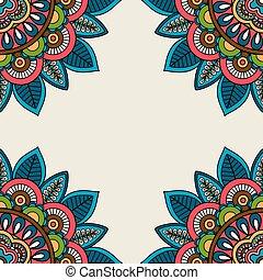 Indian doodle floral corners frame