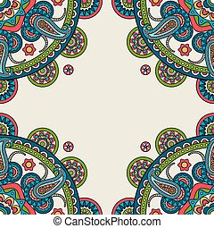 Indian doodle paisley colored frame