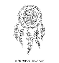 Indian Dream catcher, black and white ethnic graphic element. Vector isolated object