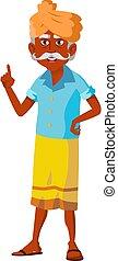 indian elderly man in traditional clothes in garden cartoon vector