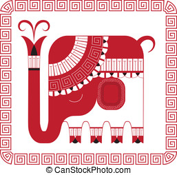 Indian elefant in decorative style - Decorative element for...