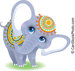 Indian elephant - Cute animal character for your design