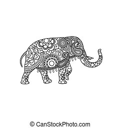 Indian elephant with decorative tribal ornament