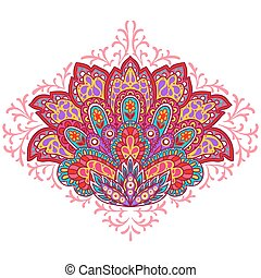 Indian ethnic ornament. Hand drawn decorative element