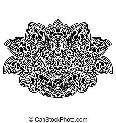 Indian ethnic ornament. Hand drawn henna tattoo decorative...