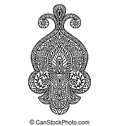 Indian ethnic ornament. Hand drawn henna tattoo decorative element