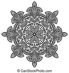 Indian ethnic round ornament. Mandala. Hand drawn henna tattoo decorative element